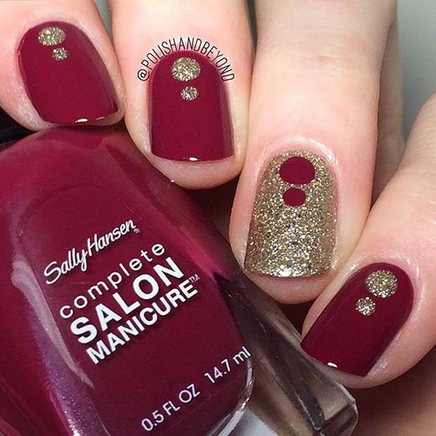 Burgundy & Gold Nail Design