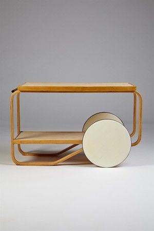 This cart looks so modern, it's hard to believe it's vintage!  Tea trolley, designed by Alvar Aalto for Artek, Finland. 1930's.