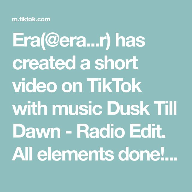 Era Era R Has Created A Short Video On Tiktok With Music Dusk Till Dawn Radio Edit All Elements Done Who Do You Think Would Win In A Battle Edit V