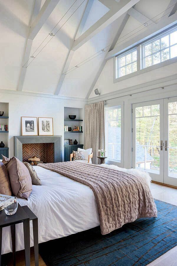Master bedroom Love the interest and texture of a folded spread--could add a splash of color #MasculineBedding