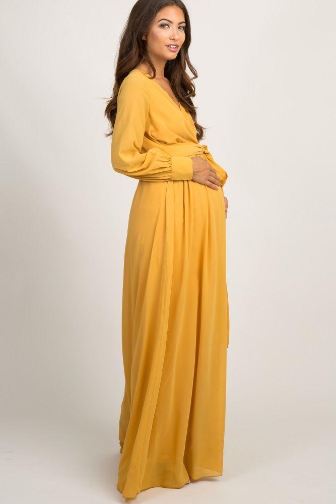 a090ccdb2274 Yellow Chiffon Long Sleeve Pleated Maxi Dress | Pregnancy Fashion in ...