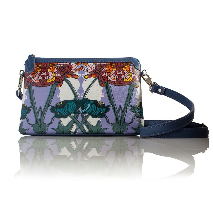 Coming soon . Flower Moment (Rectangle) Cross-body leather handbag INSPIRATION We never do florals but we had a dream. Large imposing wild flowers wrapping there petals around your bag. So a flower moment was born. We combined loud purples with hits of baby pink, orange and maroon reds all on a background of white and petrol blue.  INFORMATION Rectangular soft shoulder bag. All leather, with leather trim in soft purple calf skin leather. Detachable and adjustable cross strap for easy wear.