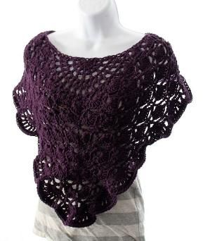 Crochet Purple poncho by delores