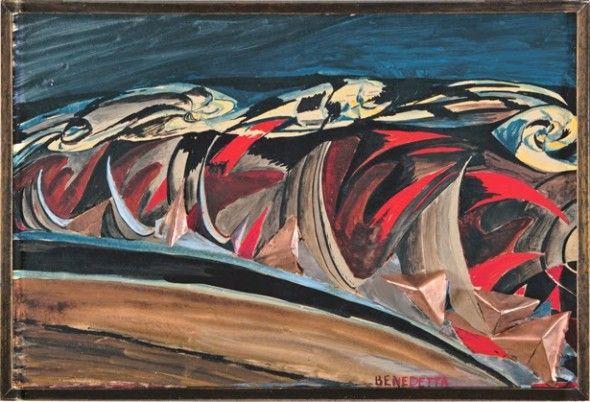 Luci + rumori di un treno notturno (1924 c.a),(esposto al Convegno di Palermo nel giugno del 1927), olio su tela, Collezione di Luce Marinetti, Roma