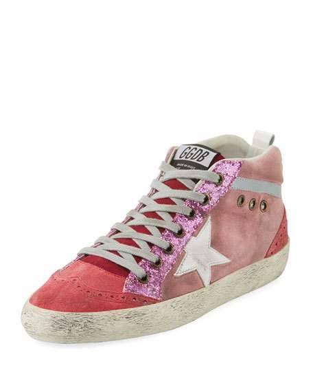 e36c8d52dc564 Mid-Top Star Glitter Sneakers, Pink/White by Golden Goose at Neiman Marcus