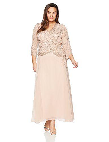 0335c442f5f1a J Kara Women s Plus Size Long 3 4 Sleeve V-Neck Beaded Faux Wrap Dress