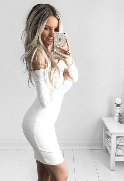 Sexy bodycon white dress for party with best friends!