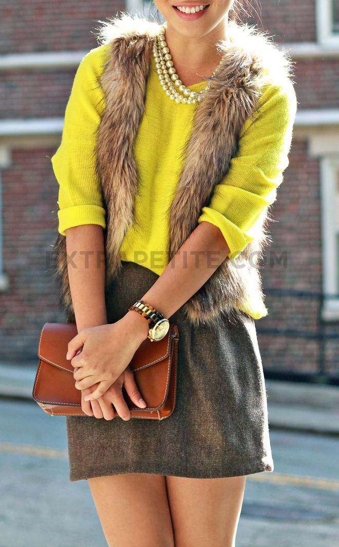Love this outfit.  Add tights and it would be perfect for fall/winter.