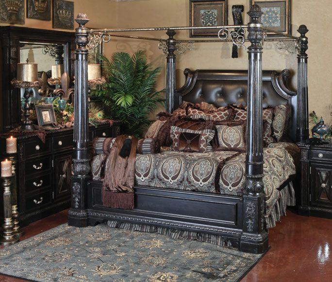 canopy bedroom sets retreat black furniture white ashley