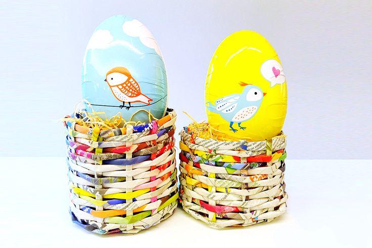 Petits nids de Pâques<br /> exceptionnels en vieux papier journal