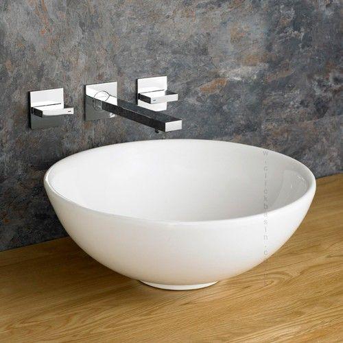 arezzo 40cm circular deep round white counter top basin basin