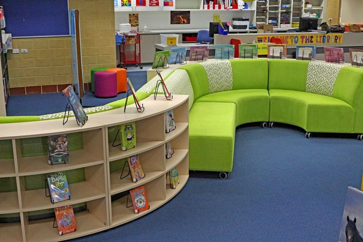 Library seating with bookcase display.
