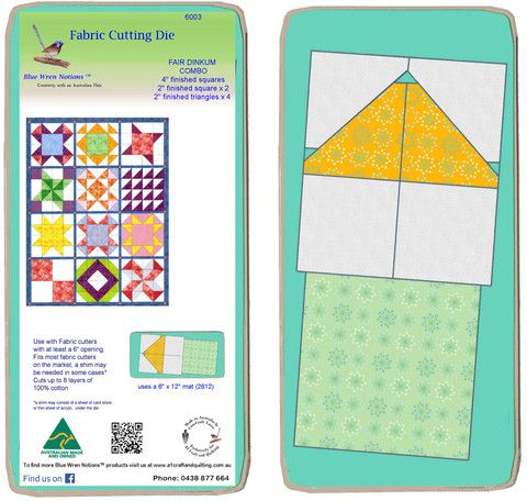 """Fair Dinkum Combo Die, 4"""" finished triangle, 2"""" finished squares and 2"""" finished triangle x 2- 6003"""