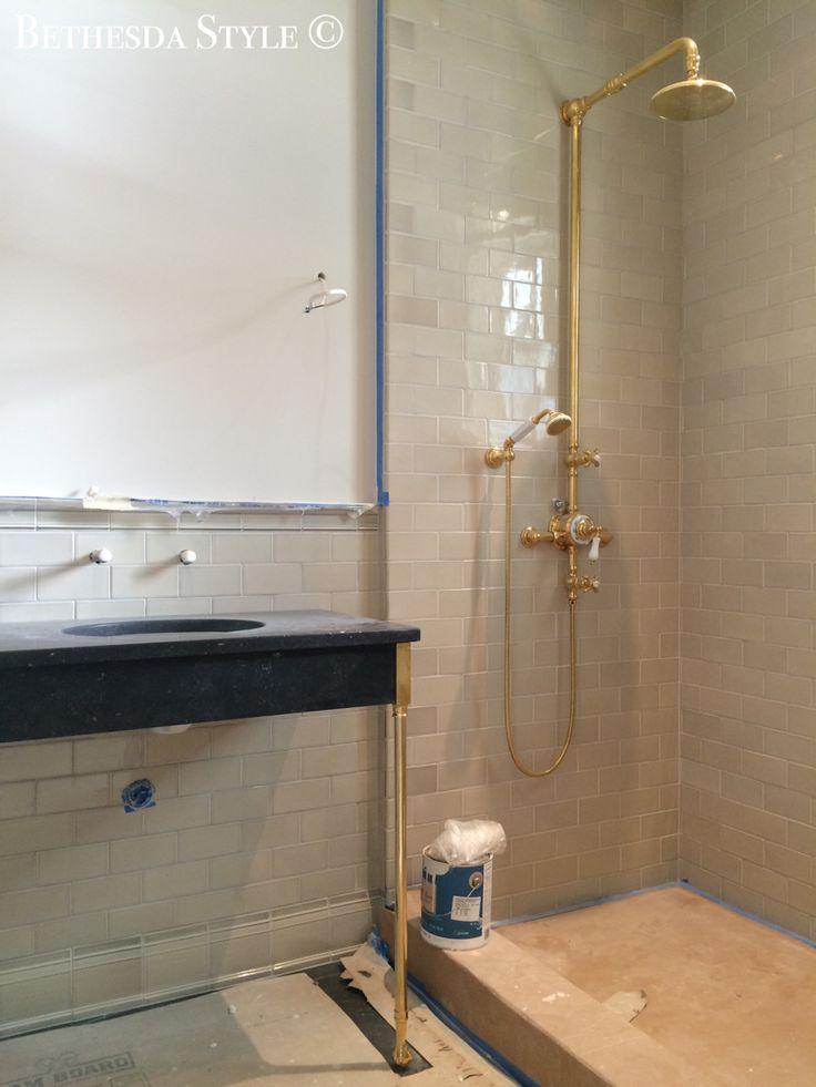 Bethesdastyle Mudroom Bathroom Shower Piedmont Sink Waterworks Unlacquered Brass
