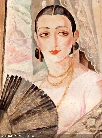 WEGENER Gerda - Portraet af Lili Elbe med vifte siddende ved et vindue
