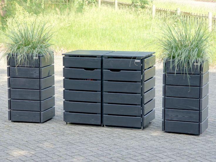 2er Mülltonnenbox Holz, Anthrazit Grau