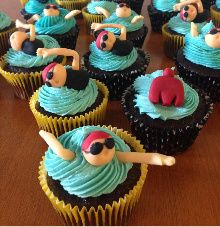 Ironman Triathlon cupcake swimmers swimming in waves