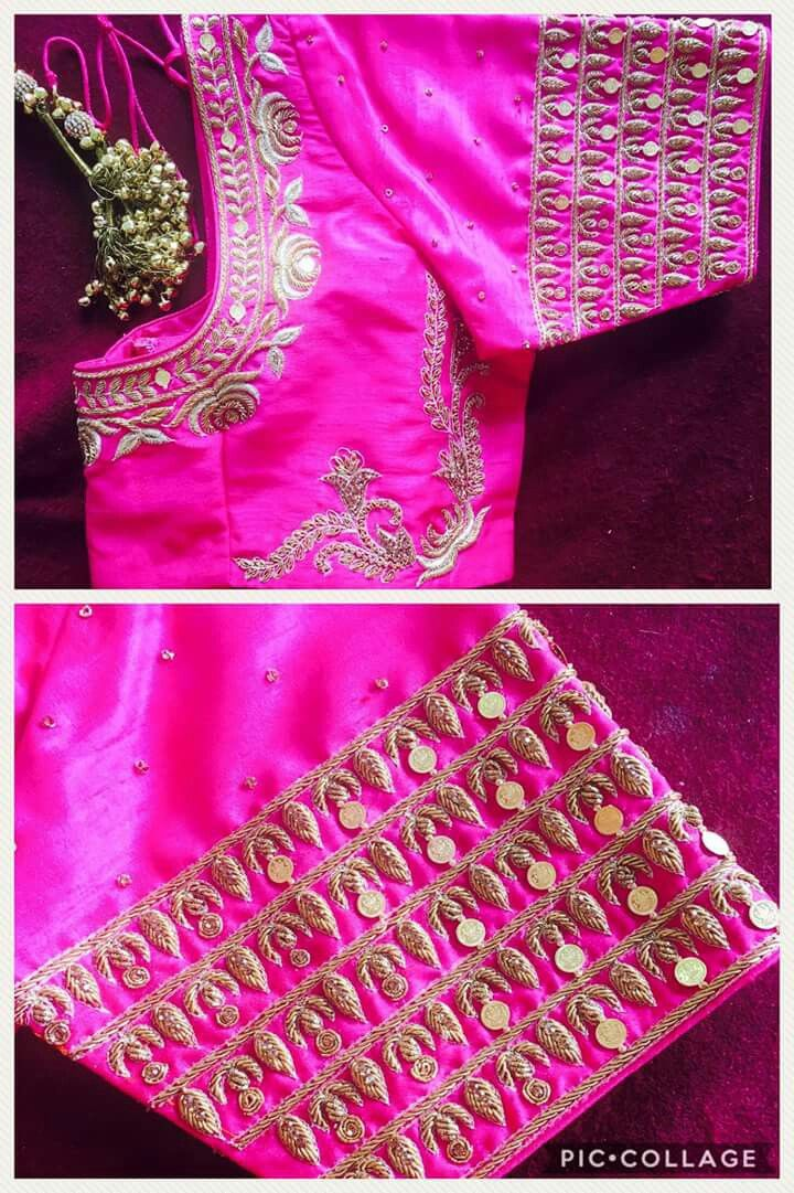 Blouse Neck Saree Patterns Designs Work Gold Embroidery Works Indian Wear
