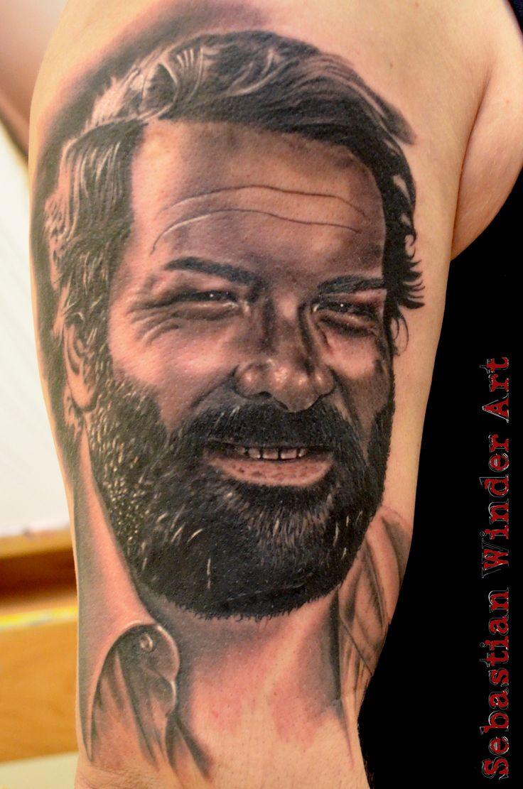 www.unbunt-tattoo.de  Bud Spencer Tattoo by Sebastian Winder Tattoo Artist from Germany