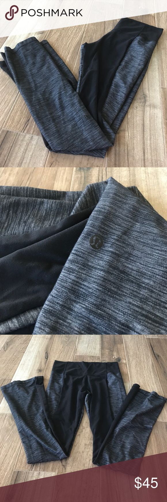 lululemon workout pants Gently worn lululemon dark grey and black bootcut leggings! Size 10. Some piling in thighs but not noticeable (see photo). Only worn a few times for a fitness competition. lululemon athletica Pants