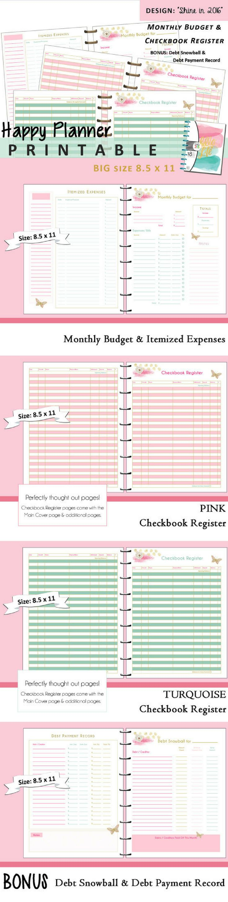 PRINTABLE Monthly Budget & Checkbook Register Planner #budgeting #saving #organization #frugal #finance #moneysense #affiliate