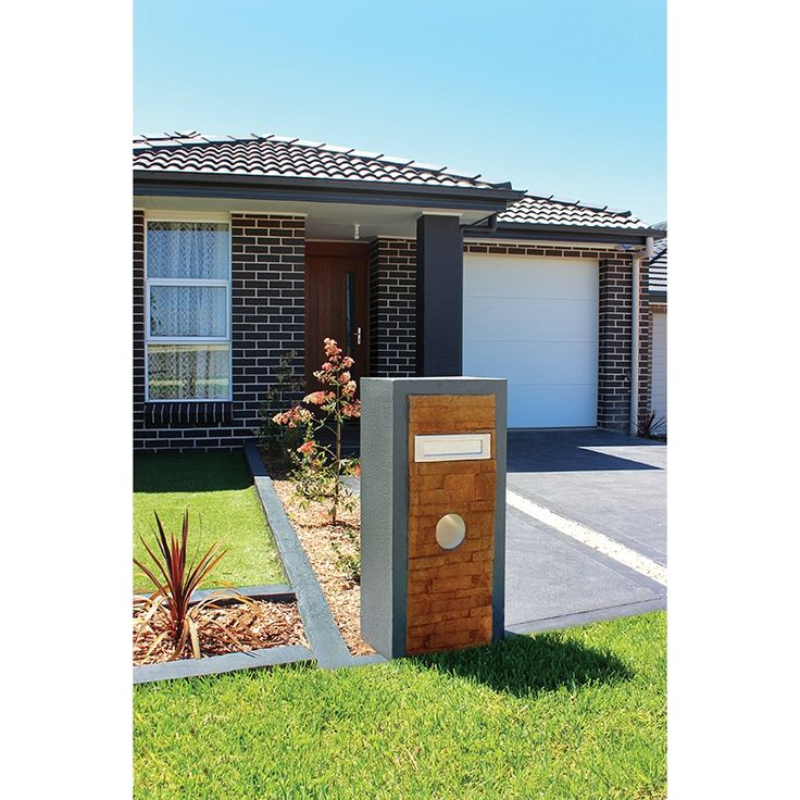 Garage Door Landscaping Ideas: Elite Letterboxes Springfield Stone/Charcoal Pillar