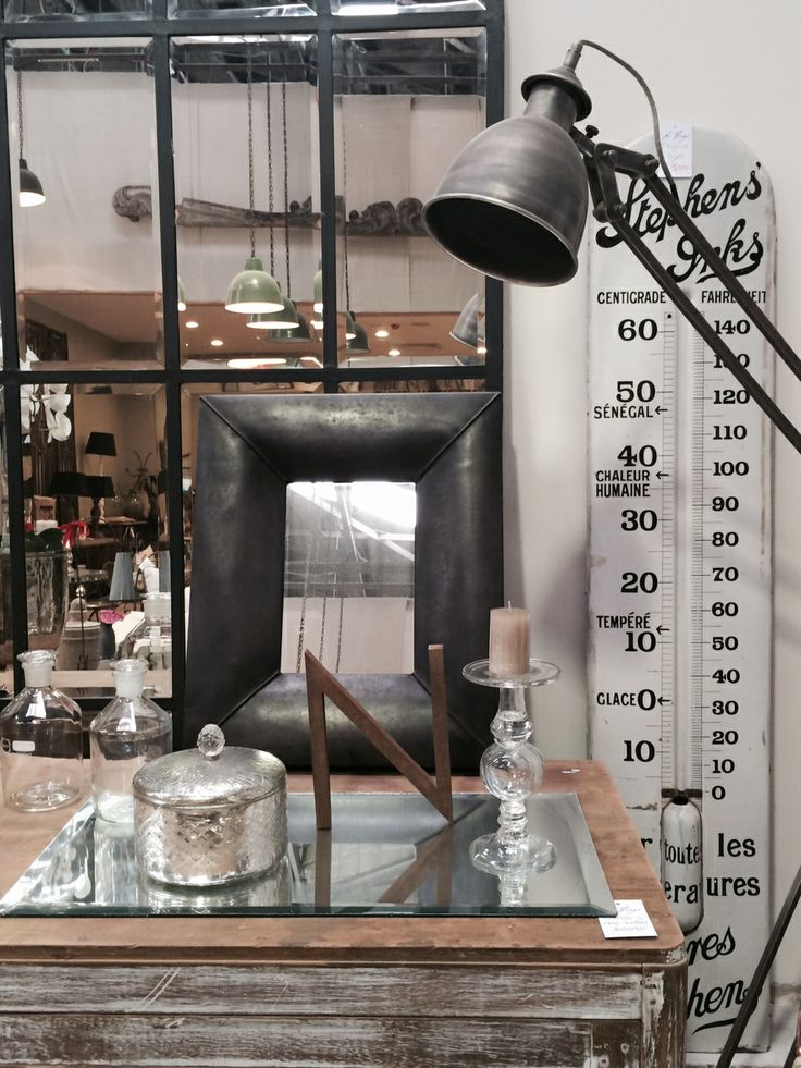 Industrial floor lamp and pendents, Original French Thermometer, Antiqued Mirror storage box, Candelabra - France. Industrial Wall Mirror - Europe) Large Panel Mirror designed by Le Forge. All available at Le Forge. 59 Denison Street, Camperdown NSW Australia. www.leforge.com.au