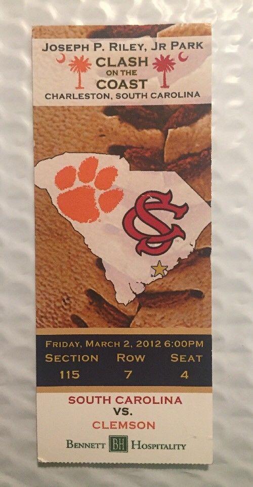 Original Ticket Stub 2012 S. Carolina Vs Clemson Baseball Charleston SC  | eBay