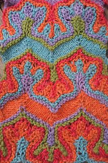 Fox paws is a rectangular wrap with a distinctive stripe motif that looks like little interlocking fox feet. Using only increases and decreases, stripes are shaped into extreme waves using the same technique as the Petal Cowl pattern but with more unusual shapes. It can be worked in 2 or more colors without any stranded or intarsia techniques so there are no strange loops on the wrong side and the wrap is very stretchy and drapey.