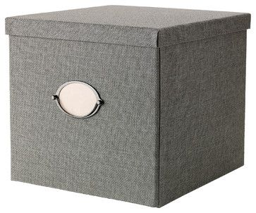 Kvarnvik Box with Lid, Gray - contemporary - storage boxes - IKEA