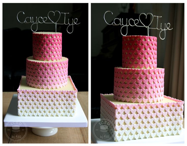 Ombre Heart Wedding Cake - fondant hearts straight onto white chocolate ganache. kez* x