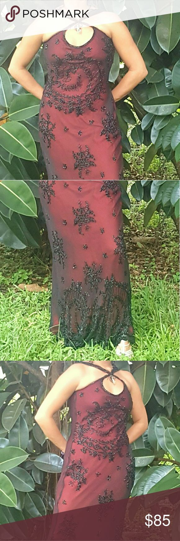 Dress Gorgeous black and red sequins evening gown... You can wear it to a wedding, to a fancy dinner, to a vampire ball theme, a 1920's theme,  Gatsby theme or prom... Dress is a size 6 but can fit a 1-8... I am a little shorter in the shoulder area so I tie or pin the straps in the front as seen in picture... Original straps made for a taller person and with the right length to accompany a taller or shorter person... Papell Boutique Dresses Prom