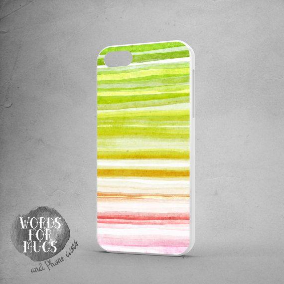 iPhone 6 plus case stripes green pink watercolor by DeWadaSTORE
