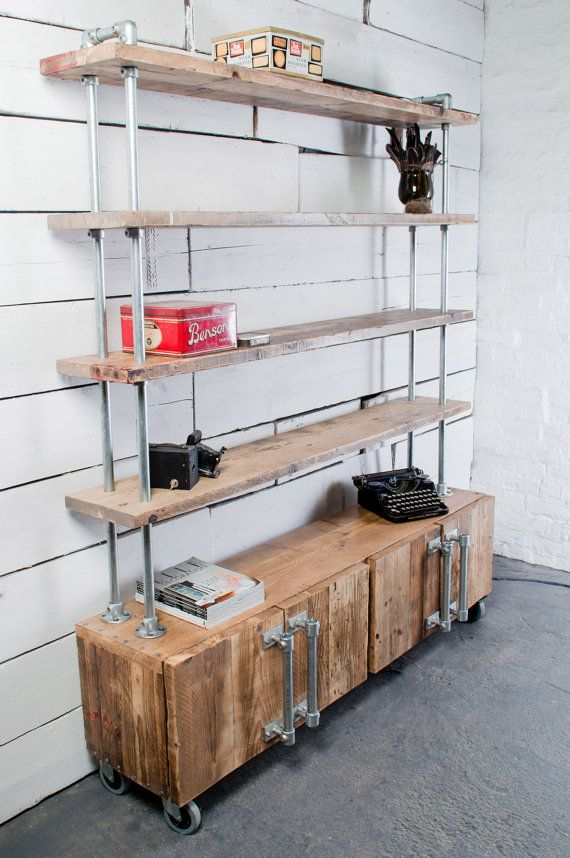 4 Door Reclaimed Scaffolding Board and Galvanised Steel Pipe Sideboard Unit with Shelves Above - bespoke made to order furniture Manchester