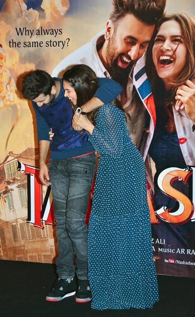 Ranbir Kapoor and Deepika Padukone at the trailer launch of #Tamasha. #Bollywood…