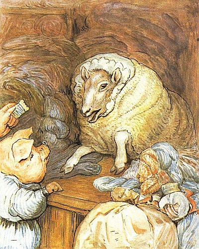 The Tale of Little Pig Robinson - Come with me to the wool shop—Fleecy Flock's wool shop