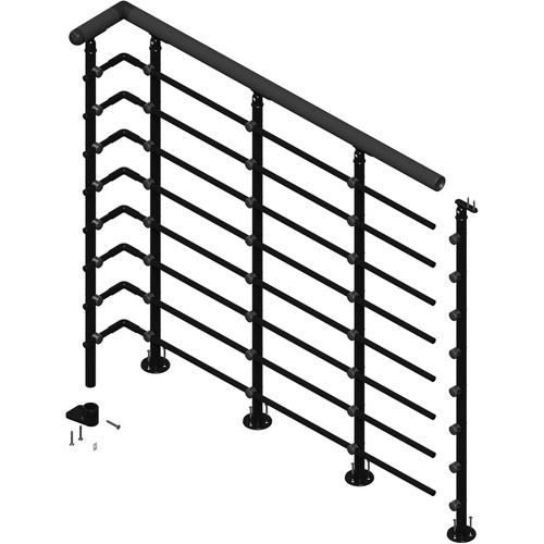 Best Zoomed Dolle 39 1 2 Powder Coated Metal Landing Banister 640 x 480