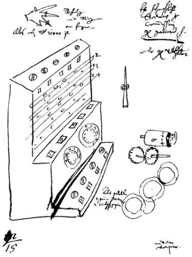 La macchina calcolatrice di Wilhelm Schickard realizzata nel 1623 dallo scienziato tedesco era in grado di eseguire sottrazioni e addizioni fino a 6 cifre. The sketch from the Württembergischen Landesbibliothek in Stuttgart