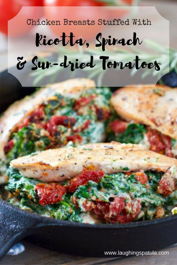 Stuffed Chicken Breasts with Ricotta Spinach and Sun-dried Tomatoes! #chickendinner #30minutemeal #chickenbreast