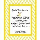 Daily Five Math!  Rotation cards, menu cards, math games, online math games, I-pad apps.  Primary colors chevron design.