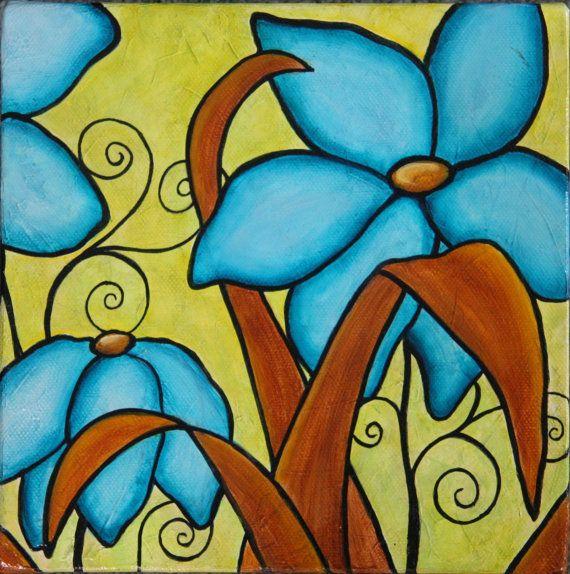 SALE -Flower Power/Original acrylic painting