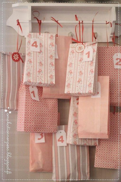 joulukalenteri diy, greengate paperipussi, adventtikalenteri, joulu sisustus