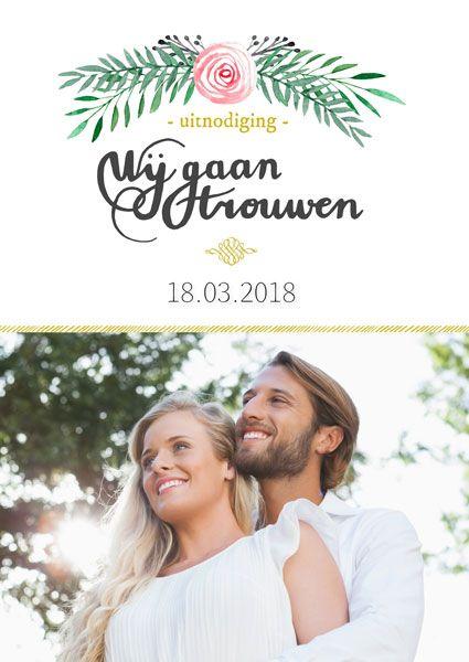 Stijlvolle uitnodiging voor een huwelijk. Gebruik dit ontwerp voor uw eigen kaart, bij Fotokaarten.nl