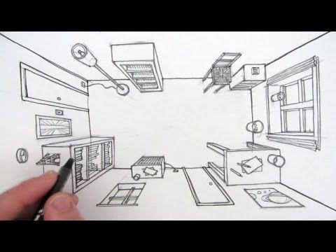 See How To Draw A Room using linear one point perspective, seen from a bird's eye view! In this art video from Circle Line Art School you can learn a simple way to make a realistic line drawing of a room with windows, doors, and objects in one point perspective.