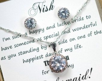 Demoiselle d'honneur bijoux mariée coeur collier par thefabwedding2