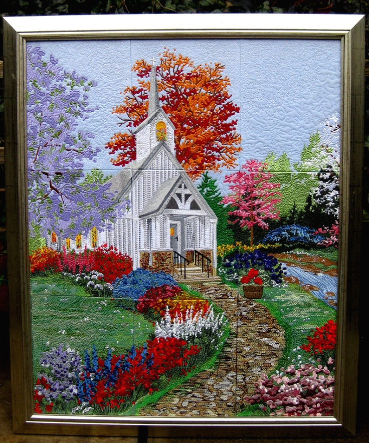 Church wallhanging, machine embroidered.