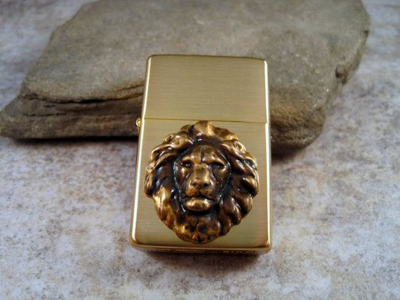 Genuine Brushed Gold Zippo Steampunk Lion Head by OneFortyFive, $38.50