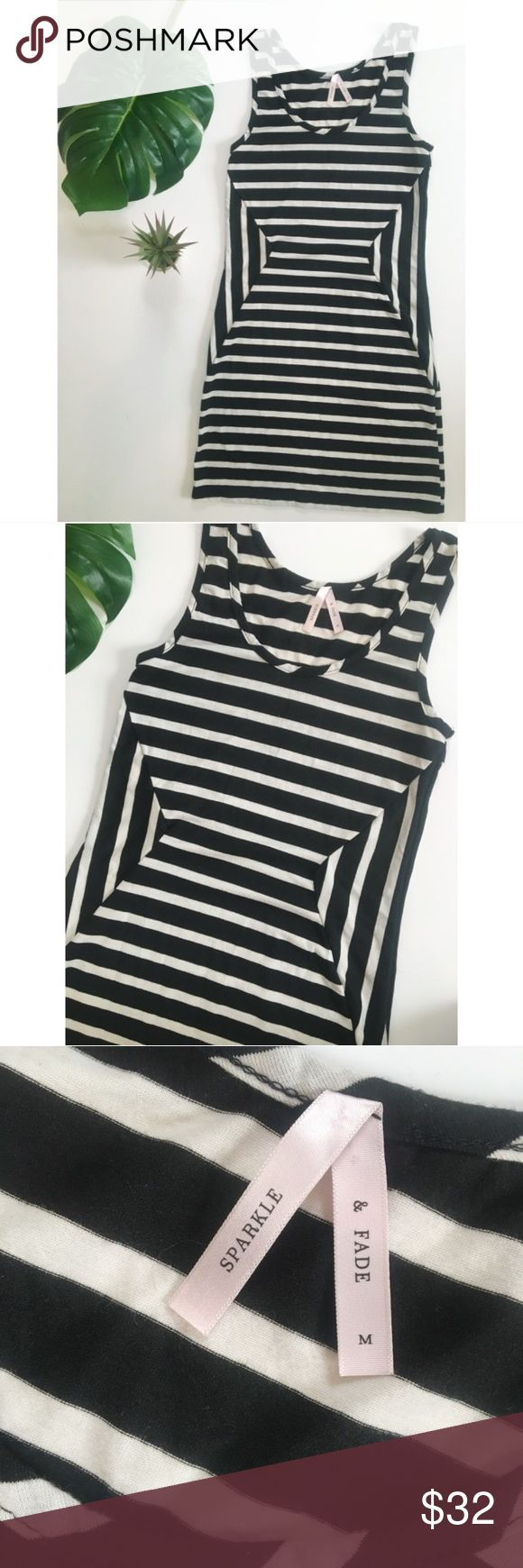 Urban Outfitters Black White Stripe Bodycon Dress Cool black and white striped geometric pattern dress by Sparkle & Fade. Comfortable cotton fabric. Bodycon fit, but not too tight. Tank top style. Super cute! Urban Outfitters Dresses