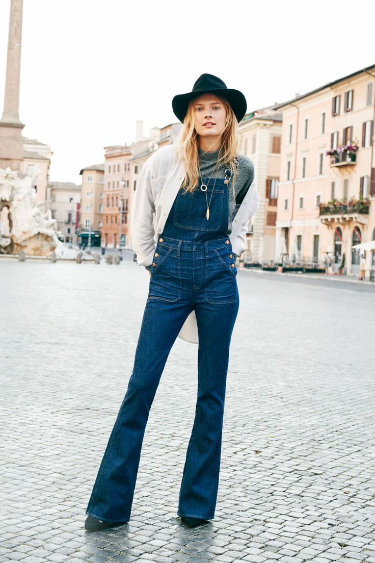 madewell flea market flare overalls, ribbed funnelneck top, flannel sunday shirt in bright ivory, bladedrop necklace, the mira heel, + madewell & biltmore® straight-brim felt fedora connection sweater worn by our muse constance jablonski in our fall catalog shot in rome. #everydaymadewell: