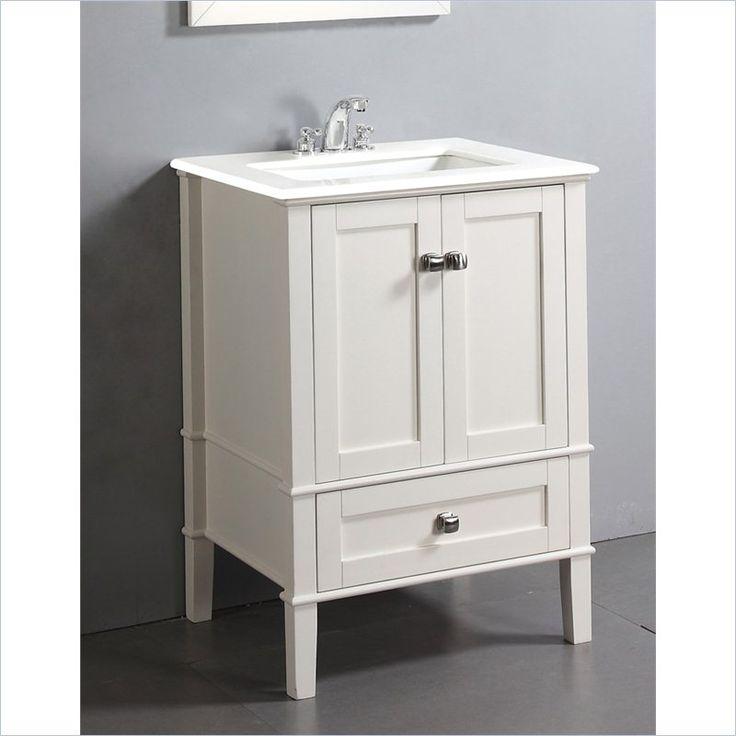 "Simpli Home Chelsea 25"" Bath Vanity With White Quartz Marble Top"